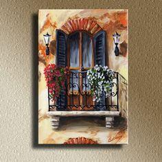 Balcony of Cremona (Edit Voros) Painting Inspiration, Art Inspo, Acrylic Art, Watercolor Paintings, Watercolour, Painting & Drawing, Amazing Art, Pastel Art, Art Drawings