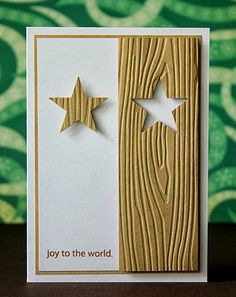 christmas card (star, woodgrain, embossing, clean & simple)