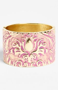 Free shipping and returns on Spring Street Hinged Cuff at Nordstrom.com. A wash of color tints the polished metal of a beautifully embossed bracelet.