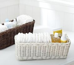 Use baskets to organize diapering on changing table, and around the house.