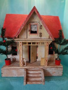 Gottschalk Two Room Doll House with Red Roof, cute and simple. .....Rick Maccione-Dollhouse Builder www.dollhousemansions.com