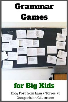 A grammar game that helps principles stick. Use for Active/Passive voice, parts…