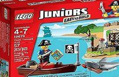 Pirate Treasure, Treasure Chest, Lego Juniors, Lego Toys, Pirates, Shark, Boat, Lego Ideas, Easy