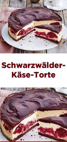 Black Forest Cheese Cake, perfectly seasoned with Schwarzwälder-Käse-Torte 😍 😍 😍, einwandfrei mit Tantes eingelegten Ki… Black Forest Cheese Cake 😍 😍 😍, flawless with marinated cherry, June 2019 - Food Cakes, Cheese Cake Receita, Cheese Cakes, Cheesecake Recipes, Dessert Recipes, Cheesecake Cake, Dessert Blog, Black Forest Cheesecake, Black Forest Torte Recipe