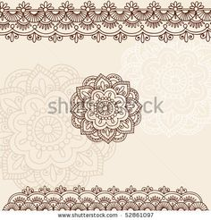 Hand-Drawn Henna Mehndi Tattoo Flowers and Paisley Border Doodle Vector Illustration Design Elements by blue67design, via Shutterstock