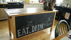 Chalkboard paint on the back of my kitchen island. doing this!!!
