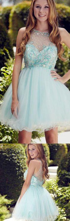 Rhinestone Prom Dresses, Light Blue A-line/Princess Homecoming Dresses, Short Light Blue Party Dresses, 2017 Homecoming Dress Rhinestone Sleeveless Short Prom Dress Party Dress WF02G45-208