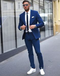 New Tailor Made Light Navy Blue Groom Tuxedos Casual Man Suit Slim Fit Mens Wedding Prom Party Suits(Jacket+Pants+Tie)terno Suits And Sneakers, Sneakers Outfit Men, Men's Sneakers, Sneakers Fashion, Shoes Men, Fashion Boots, Mens Fashion Suits, Mens Suits, Mens Suit Jackets