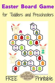 Easter Board Game for Toddlers and Preschoolers. This free, printable Easter game for kids is a fun way to practice counting, visual discrimination, and one to one correspondence. Printable Games For Kids, Free Games For Kids, Outdoor Games For Kids, Board Games For Kids, Printable Crafts, Free Printables, Easter Activities For Toddlers, Easter Activities For Kids, Games For Toddlers
