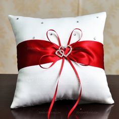 Elegant Ring Pillow in Satin With Ribbons/Rhinestones Glam Pillows, Ring Pillows, Burlap Pillows, Decorative Pillows, Throw Pillows, Wedding Pillows, Ring Pillow Wedding, Christmas Crafts, Christmas Decorations