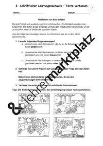 Unfallbericht Differenzierte Klassenarbeit Leistungsnachweis Unterrichtsmaterial Im Fach Deutsch In 2020 Unfallbericht Klassenarbeiten Erste Klasse