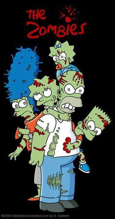 This picture shows the TV show characters The Simpsons in a zombie form and I thought it was very cool and I could use this for research if I wanted to draw cartoon zombies Zombie Cartoon, Zombie Movies, Zombie Art, Cartoon Art, Simpsons Drawings, Simpsons Art, Simpson Wallpaper Iphone, Cartoon Wallpaper, Los Simsons