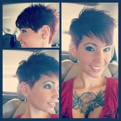 Pinning my hair, for future reference lol and I've had a lot of people ask! Www.instagram.com/kendramalcom #pixie #pixiehaircut #undercut