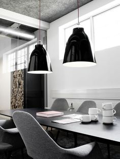 Goldborough Store black pendant lighting dining table wood storage industrial feel grey white palette