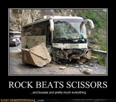 demotivational posters - ROCK BEATS SCISSORS