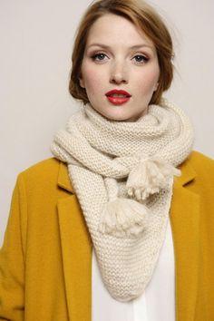 écharpe Bee écru 53% kid mohair/ 8% polyester/ 4% fibre metallique - accessoires textile Femme - Des Petits Hauts
