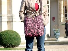 DALIDA Dark brown with pink leaves and flowers  French by ikabags