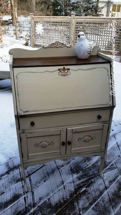 Painted Secretary/Desk Annie Sloan Chalk Paint Old Ochre and Antique Walnut Gel Stain