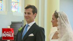 Princess Alix of Ligne and Count Guillaume de Dampierre after the ceremony at St. Peter's church in Beloeil, Belgium