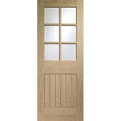The traditional style Suffolk White Oak 6 Light Door with Bevelled Clear Glass