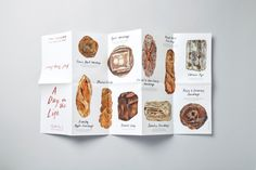 Gail's Artisan Bakery – A Day in the Life – Leaflet – Charlie Smith Design Bakery Branding, Bakery Menu, Bakery Packaging, Bakery Logo Design, Logo Branding, Brand Identity, Visual Identity, Food Graphic Design, Food Menu Design