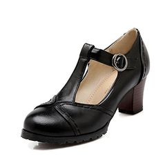 AIWEIYi Womens TStrap Mid Heel Mary Jane Style Dress Pumps <3 Find out more by clicking the VISIT button