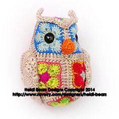 Ravelry: Fat Little Owl African Flower Crochet Pattern pattern by Heidi Bears Crochet Owls, Crochet Animals, Crochet Motif, Crochet Patterns, Hexagon Crochet, Crochet Horse, Crochet African Flowers, Crochet Flowers, Animal Fibres