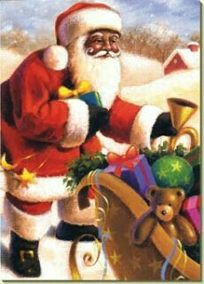 """(a Black Santa, how rare to see in pictures).""""The Best American"""" Black Christmas, Christmas Past, Father Christmas, Christmas Pictures, Christmas Greetings, Winter Christmas, Christmas Crafts, Soulful Christmas, Christmas Store"""