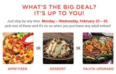 CHILI'S $$ Reminder: Coupon for FREE Appetizer, FREE Dessert & FREE Fajita Upgrade – Expires TODAY (2/25)!