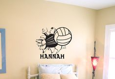 Volleyball Bursting Through Wall Vinyl Wall by imprintabledesignz, $15.99