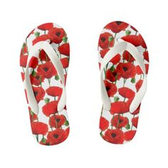 Red Poppies Floral Pattern Kid's Flip Flops - pattern sample design template diy cyo customize