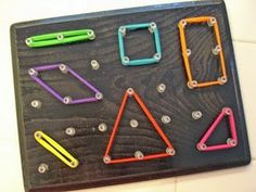"Great ""transition"" activity!  ""Use a board, pushpins, and hair elastics to allow children to make their own geometric shapes for math"""