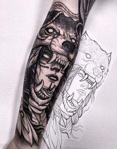 Did this wolf headdress last week! Thanks a lot Darren! I will be in Frankfurt C… Did this wolf headdress last week! Thanks a lot Darren! I will be in Frankfurt Convention next month! Wolf Tattoos, Hai Tattoos, Native Tattoos, Viking Tattoos, Forearm Tattoos, Animal Tattoos, Body Art Tattoos, Girl Tattoos, Tattoos For Guys
