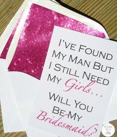 Être ma carte de demoiselle d'honneur / / Fuchsia Glitter Liner / / blanc enveloppe