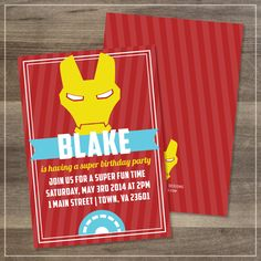 Printed Superhero Iron Man Birthday Party Invitation | Customizable (40.00 USD) by afranksdesigns