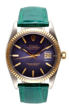 Rolex Stainless Steel And 18K Yellow Gold Quickset Datejust With Blue Dial by CMT Fine Watch and Jewelry Advisors for Preorder on Moda Opera...