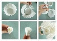 How to make a flower / bouquet. Coffee Filter Roses - Step 1