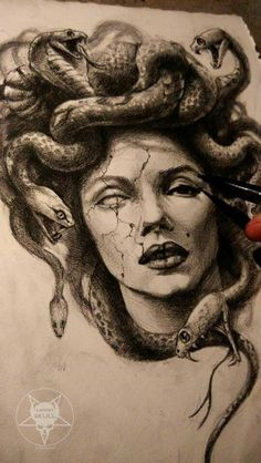 The story of Medusa is so sad. In her I see so many people I know and knew. When I think of her I think of women taking back power. Medusa makes me feel strong. God Tattoos, Neck Tattoos, Body Art Tattoos, Sleeve Tattoos, Tatoos, Verse Tattoos, Funny Tattoos, Awesome Tattoos, Medusa Drawing