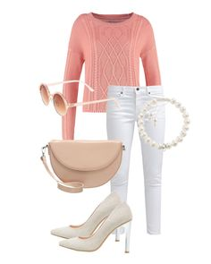 Spring Time Lunch Date - Team white jeans with a pastel jumper for a cute Easter look. The coral jumper we've picked will keep you warm if there's still a bit of a chill in the air. Dress it down with a pair of white pumps for a picnic in the park or lunch. Dress it up with nude heels, clutch and pretty pearl jewellery. More details on Urbansocial.