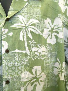 RJC  Ltd Hawaiian Shirt 2XL Mens Green White Flowers Batik Made in Hawaii Cotton #RJC #Hawaiian