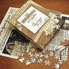 Personalized New York Times jigsaw puzzle, any date from 1888 to the present.  $39.95