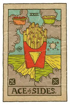 Ace of Sides. Food Tarot 2 by Josh LaFayette Wallpaper Food, Pizza Art, Illustrations, Illustration Art, Cartomancy, Mystique, Daily Drawing, Oracle Cards, Tarot Decks