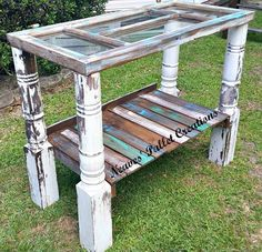 """RECYCLED WOOD PALLETS: We featured this table awhile ago and it was """"naked"""". Someone saw our vision for it and purchased it and told us """"to do what we do"""" to it. So we did. This table sold for $195, and we can """"do what we do"""" to another one and can make it similar. Message us with your thoughts or design ideas and we would love to make something special just for your family!   Item # 572"""