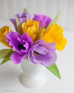 Make These Pretty Crepe Paper Tulips