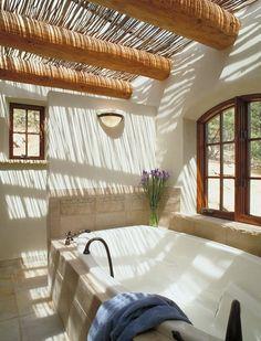 LOVE this ceiling, even a little bit across either Master Bedroom or En Suite! Southwest-Style Pueblo Desert Adobe Home Dream Bathrooms, Beautiful Bathrooms, Spas, Adobe Haus, Santa Fe Home, Sweet Home, Outdoor Baths, Indoor Outdoor, Bathroom Spa