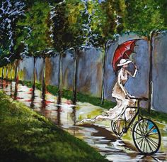 """""""Cupid's Arrow was upright again and, in the blink of an eye, Belle was a bright white spot pedaling north, her red polka-dotted umbrella latched onto her basket to cocoon her beautifully from the December rain. Umbrella Painting, Umbrella Art, Under My Umbrella, 3d Chalk Art, Bike Illustration, Rain Art, Singing In The Rain, Painting People, Cycling Art"""