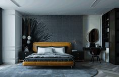 behance image Bedroom Closet Design, Apartment Projects, Dark Shades, Luxurious Bedrooms, Black House, Hanoi, Residential Architecture, Dark Grey, Interior Design