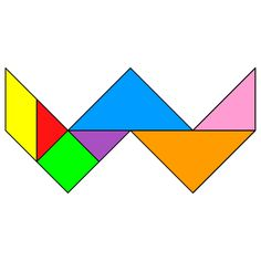 Tangram Letter W - Tangram solution #121 - Providing teachers and pupils with tangram puzzle activities