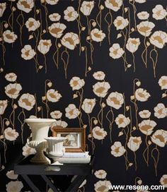 One of the revived Mason designs in the new Mason Handcrafted Wallpaper collection, featuring poppies painted in Resene Gold Dust metallic and Resene Nero. Classic Wallpaper, Wallpaper S, Pattern Wallpaper, Designer Wallpaper, Habitats, Poppies, Color Schemes, House Design, Colours