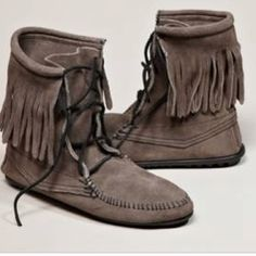 Mens Moosehide Leather Moccasins Boots With Crepe Sole